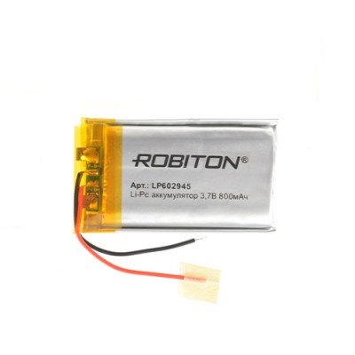 Аккумулятор ROBITON 3.7V 800мА LP602945 Li-Po с защитой