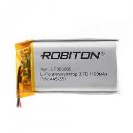 Аккумулятор ROBITON 3.7V 1100мА LP603060 Li-Po с защитой