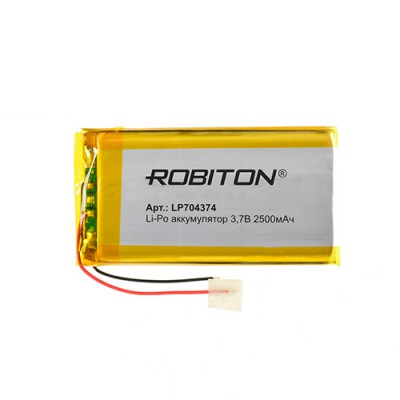 Аккумулятор ROBITON 3.7V 2500мА LP704374 Li-Po с защитой
