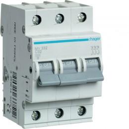 Автоматический выключатель Hager 3П 32А С 4,5кА (MY332)