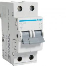 Автоматический выключатель Hager 2П 25А С 4,5кА (MY225)