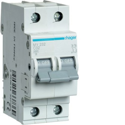 Автоматический выключатель Hager 2П 32А С 4,5кА (MY232)